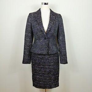 Ann Taylor Tweed Blazer Pencil Skirt Suit Set